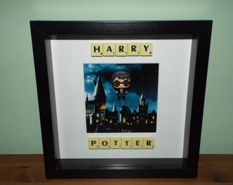 Harry Potter Funko Pocket Pop with Scrabble tiles in a Frame