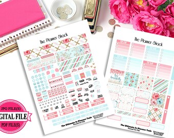 Spring Blossoms - Mini Happy Planner - Printable Planner Stickers