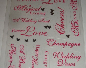 NEW Package of Scrapbooking Stickers Wedding Love Bride and Groom Mr. and Mrs. Congratulations