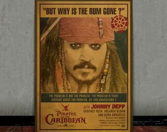 Jack Sparrow, Johnny Depp, Colored retro classic movie poster