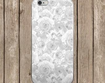 White Floral Design iPhone Case   iPhone 5/5s/SE   iPhone 6/6s   iPhone 6 Plus/6s Plus   Wedding iPhone Case    iPhone 7   iPhone 7 Plus