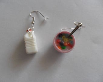 "Earrings ""milk and cereal"""