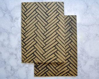 Copper on Black Herringbone Pattern Greeting Card, Hand-stamped linocut, Block Print, 5x7 Blank Card