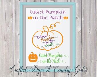 Cutest Pumpkin, In The Patch, SVG, bundle, Vinyl, cut file, Halloween, fall, October, yeti decal, wall decal, t shirt, pumpkin, kids shirt