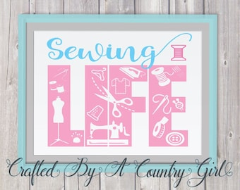 SEWING svg, LIFE, SVG, Digital, Cut File, Vinyl Cut File, silhouette cameo, cricut, yeti decal, sewing machine, craft, crafter, seamstress