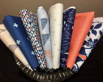 B Is For Blue Custom Curated Fat Quarter Bundle ~ Adorable Navy and Orange little Boy Fat Quarter Bundle ~ Weave & Woven