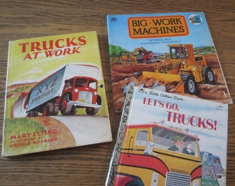 Rare Book, Trucks at Work by Mary Elting, 1953 copyright, Golden Book, Big Work Machines, little boys books