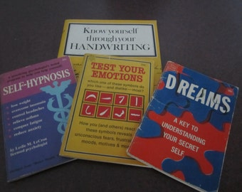 4 pscho analysis books, Dreams, Hypnosis, Handwriting analysis, test your emotions, 1970s Dell Purse Book