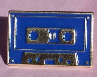 "Black, Blue, Teal or Fuchsia on Gold 1"" Soft Enamel Cassette Tape Enamel Pin Lapel Pin 1980s Retro"