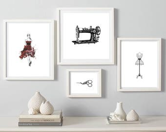 sewing print, fashion wall art, sewing set of 4 wall decor, vintage fashion prints, sewing machine poster, model, mannequin print, scissors
