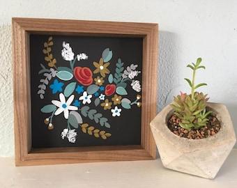 Floral Wood Framed Sign