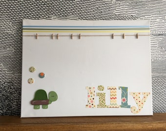 "Personalised decorative peg board - with wooden and felt animal tortoise icon - 18"" x 24"" - lilly"
