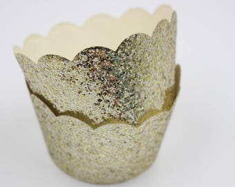 Sparkly Cupcake Wrappers Gold Engagement Bridal Shower Decorations Bachelorette Party Supplies