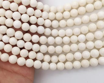 1Full Strand 7.5mm White Coral Round Beads, Wholesale Coral Beads For Jewelry Making