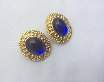 MJ Blue Glass and Gold Toned Metal Pierced Fashion Earrings