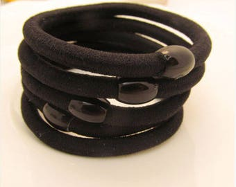 10 Pieces 4mm Thick Elastic Ponytail Tie Black Ponytail Holder Base Elastic Hair Bands