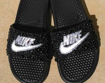 Bling Nike Slides, bling slides, pearl slides, nike, sandals
