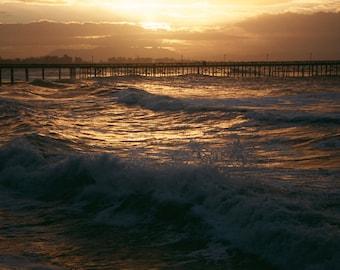 """Ventura Pier and Pierpont Beach Photograph  """"First Rays of Light Over Ventura Pier"""""""