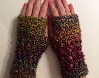 Thick Autumn Multicolored Fingerless Handwarmer Mitts
