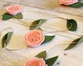 Blush Nursery, Felt Flower Garland, Pink Flower Garland, Shabby Chic Nursery, Boho Nursery, Baby Girl Art, Floral Vine, Rustic Twine Burlap