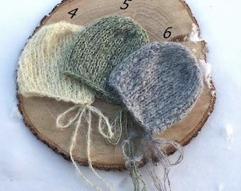 NEW! Newborn Luxury Baby mohair bonnet, Knit hat, Newborn hat, Hat, Photo prop, Knit Bonnet, Dainty hat