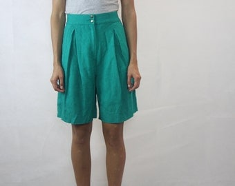 VINTAGE Green High Waisted Linen Shorts Size XS 8