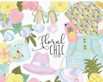 Holographic Floral Chic Clip Art