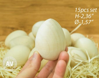 SET OF 15 DIY Easter eggs Blank Easter egg wooden unpainted Easter egg blank wooden Pysanka Wooden Egg Peg Plain wood peg wood egg waldorf