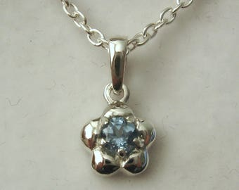 Solid 925 Sterling Silver March Birthstone Daisy Aquamarine Pendant