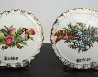 Heather Thistle Peebles Scottish Vase Liverpool Rd Pottery Pair Vintage