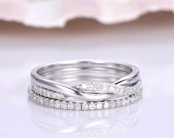 Diamond Wedding Ring Set Twisty Half Eternity Natural Diamond Wedding Band Half Eternity Diamond Wedding Ring Eternity Ring 14K White Gold