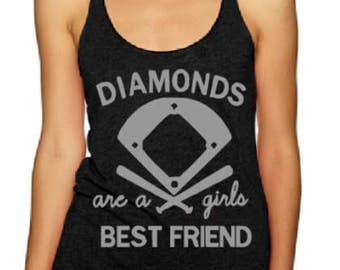 Diamonds Are A Girls Best Friend/ Baseball Tank/ Softball Tank/ Gift For Her