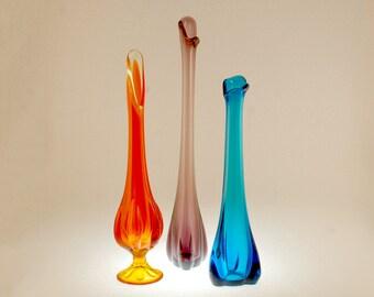 Three Viking Epic Swung Vases, Three Foil Amethyst, Three Foil Bluenique, Six Petal Persimmon, Mid Century Modern Art Glass Vase Ensemble