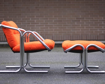 FREE SHIPPING Mid Century Jerry Johnson Chrome Sling Chair and Ottoman