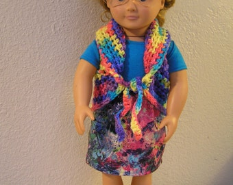 Colorful, Fashionable 3-Piece Outfit - Jeans Skirt and Crocheted Vest with T-Shirt for American Girl and 18 inch Dolls