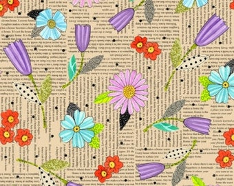 By The HALF YARD - Happy Home by Christine Graf for Quilting Treasures, #23683-O, Purple, Pink, Blue and Red Flowers on Cream News Print