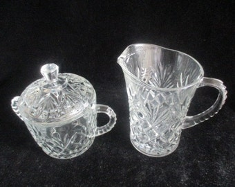 Anchor Hocking Prescut-Clear Creamer & Lidded Sugar Bowl Pineapple Pattern