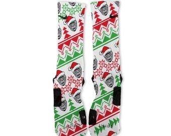 Custom Harambe Christmas Sweater Green Nike Elites Socks