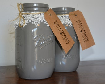 Gray/Lace Large Mason Jar