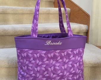 Tote, purple butterflies, handmade