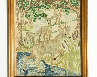 Vintage  needlework depicting a deer family by a stream, tapestry, hand-sewn, kids room, farmhouse, cabin decor