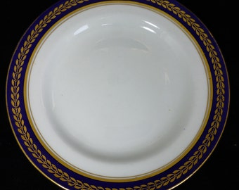 Adderleys Antique Cheese / Salad Plate with Hand Painted Cobalt Blue and Gold Laurel Leaf Pattern 7313 (ADD 7313) - Collectible