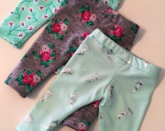 "Ankle Length Leggings, Jeggings, Pants for American Girl Doll Clothes or 14- 18""  Doll Pants, Stretch Knit, Modern, Trendy, Mermaid, Floral"