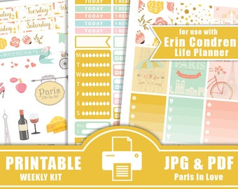 50% SALE Paris Planner Stickers PRINTABLE,Planner Stickers Kit,Love Planner Stickers,Planner Sticker for use with Erin Condren Life Planner