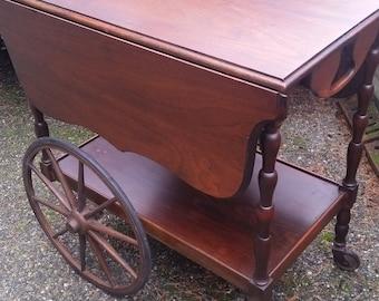 Vintage Tea Cart - Vintage Victorian Style Tea Cart with Wheels, Drop Leaf Tea Cart