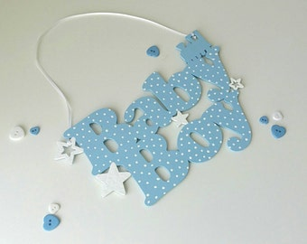 Nursery wall plaque, Baby Boy sign, Baby shower decoration, Blue baby shower sign, nursery door plaque, baby room wall art, Hanging plaque