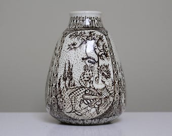 Bjørn Wiinblad for Nymolle: Vintage Danish Scandinavian Porcelain Vase with Figurative Decor of Masquerade Characters