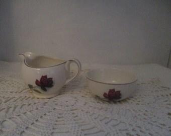 Alfred Meakin Realm Rose Small Milk Jug and Sugar Bowl (1950s)
