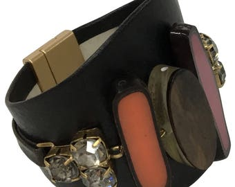 "Leather wristband ""Hot Chocolate"""