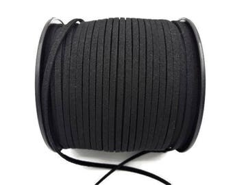 3 m cord Black Suede - 3 mm * 1.4 mm - A178